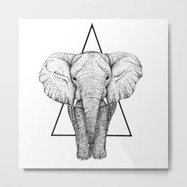 Wisdom Elephant Metal Print