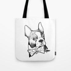 Bow Tie BostonTerrier Black and White Tote Bag