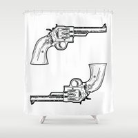 guns Shower Curtains featuring Guns by Dahlia Inspirations
