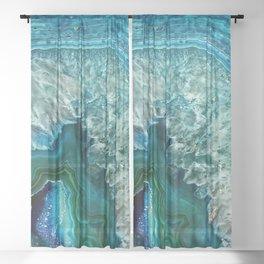 Aqua turquoise agate mineral gem stone Sheer Curtain