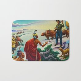 Classical Masterpiece 'American West from Native Americans Perspective' by Thomas Hart Benton Bath Mat