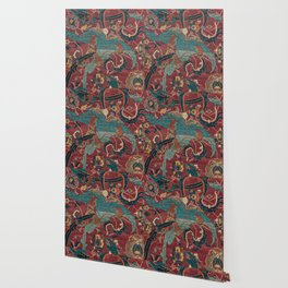 Flowery Arabic Rug I // 17th Century Colorful Plum Red Light Teal Sapphire Navy Blue Ornate Pattern Wallpaper