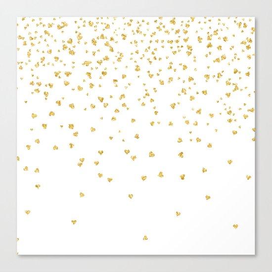 Falling hearts gold glitter confetti - Heart Love Valentine Canvas Print