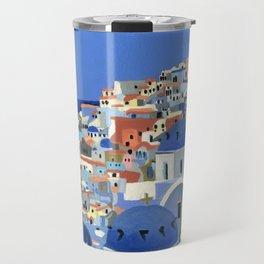 Santorini Greece Oil Painting Travel Mug