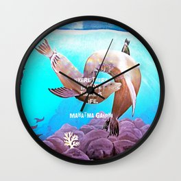 Inspirational Love Quote With Sea Lions Painting Wall Clock