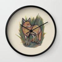 coyote Wall Clocks featuring Coyote by Kelsey Oseid
