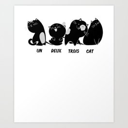 Cats Wordplay Funny Sweet French Gift Art Print