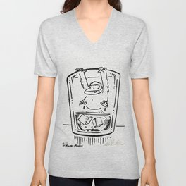 Ape Climbs out of the Whiskey Glass Unisex V-Neck