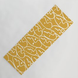 faces / mustard Yoga Mat