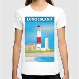 Long Island, New York - Skyline Illustration by Loose Petals T-shirt
