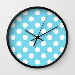 Sky blue (Crayola) - heavenly - White Polka Dots - Pois Pattern Wall Clock