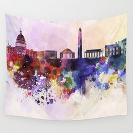 Washington DC skyline in watercolor background  Wall Tapestry