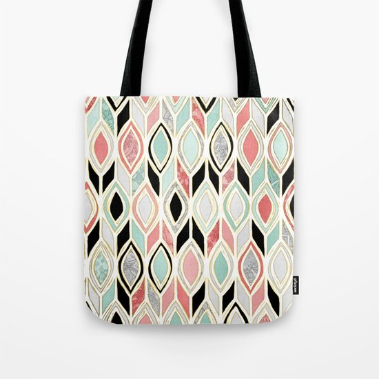 Patchwork Pattern in Coral, Mint, Black & White Tote Bag
