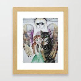 The Cat, The Girl, and The Owl Framed Art Print