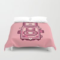 vintage camera Duvet Covers featuring Vintage Camera by evannave
