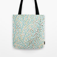 winter Tote Bags featuring Berry Branches – Turquoise & Gold by Cat Coquillette