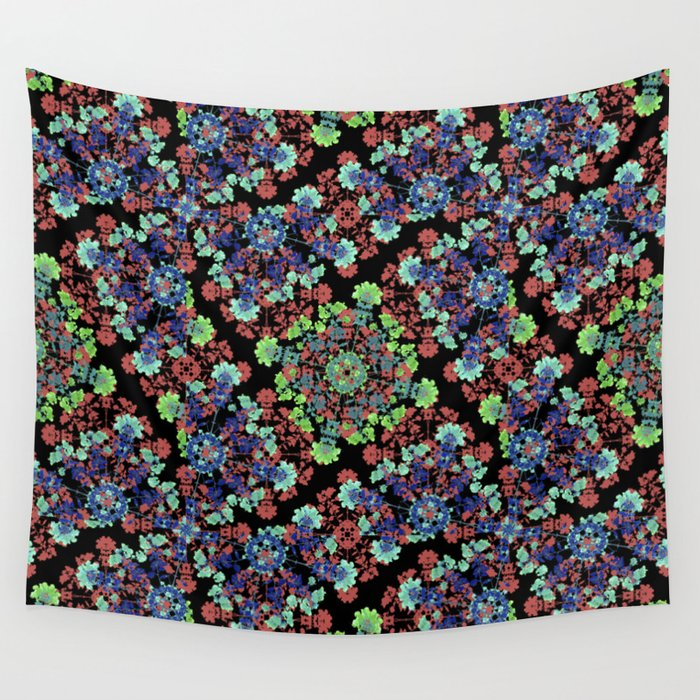 Colorful Stylized Floral Collage Wall Tapestry