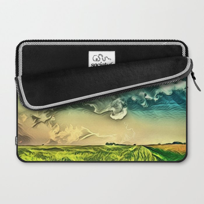 Air Balloon in the Sky with Clouds over the Landscape Laptop Sleeve