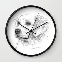 Golden Retriever - looking far Wall Clock