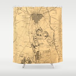 Vintage Map of The Gettysburg Battlefield (1863) 2 Shower Curtain