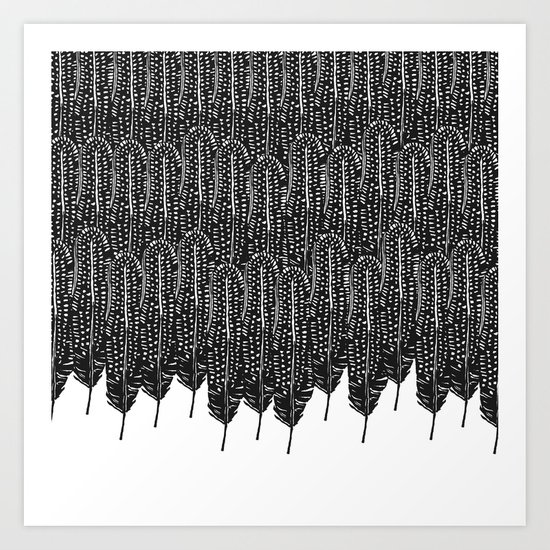 Black & White Feather Wilderness Art Print