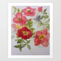 Rose and Spider Watercolor Art Print