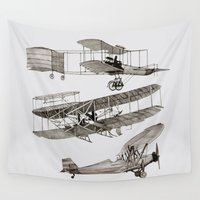 airplanes Wall Tapestries featuring airplanes 3 by Кaterina Кalinich