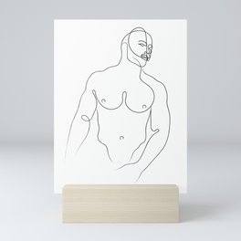 Male Torso Line Drawing Mini Art Print