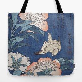 Katsushika Hokusai Peonies and Canary Tote Bag