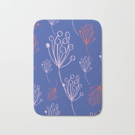 floral blue chalk contemporary Bath Mat