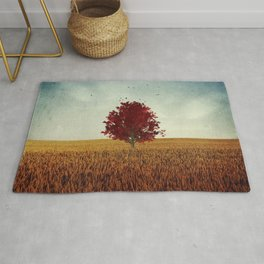 other -  red tree in field Rug