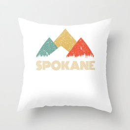 Retro City of Spokane Mountain Shirt Throw Pillow