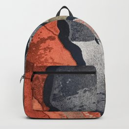 Cool Gray, Tan and Red Patterns Backpack