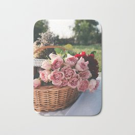 Red and Pink Roses in Basket Bath Mat