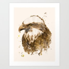 Respect: portrait of a bald-eagle, handmade watercolor and tea-stained painting. Art Print