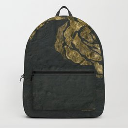 Golden Rose on Textured Canvas Backpack