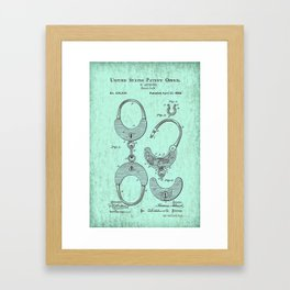 US Patent Office Submission for Handcuffs - Circa 1880 Framed Art Print