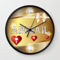 abigail larson Wall Clocks featuring Abigail 01 by Daftblue