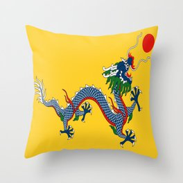 Chinese Dragon - Flag of Qing Dynasty Throw Pillow
