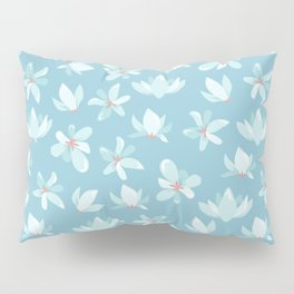 Elegant pastel blue white coral modern floral illustration Pillow Sham