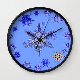 """BLUE SNOW ON SNOW"" BLUE WINTER ART Wall Clock"