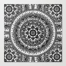 Black and White Mandala Pattern Canvas Print