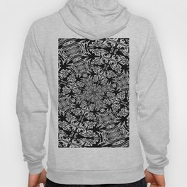 Fallen Leaves Black and White Kaleidescope Hoody