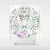 allyson johnson Shower Curtains featuring Fly away with me by Luca Johnson by Lucinda Saunders Design