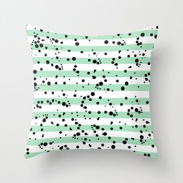 Pastel Goth - Mint Stripes and Black Splatter Throw Pillow