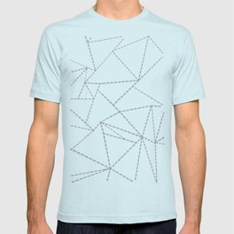 Abstract Dotted Lines Grey T-shirt