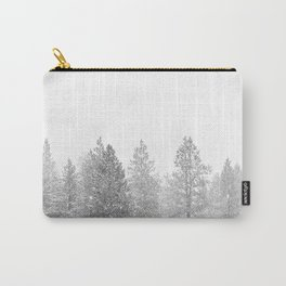 Snow Day // Black and White Winter Landscape Photography Snowing Whiteout Blizzard Carry-All Pouch