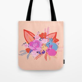 Family Easter Bunnies on peach background Tote Bag