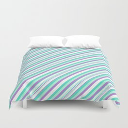 Deep Sea Green Turquoise Violet Inclined Stripes Duvet Cover