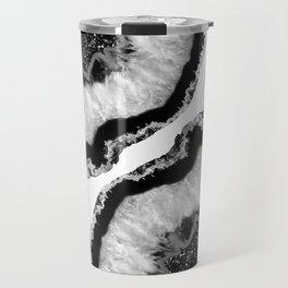 Gray Black White Agate Glitter Glamor #2 #gem #decor #art #society6 Travel Mug